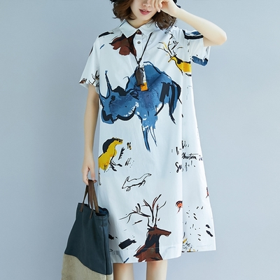 米蘭精品 連身裙短袖洋裝-印花休閒翻領棉質女裙子73xz12