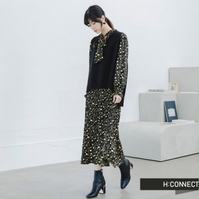 H:CONNECT 韓國品牌 女裝 -兩件式滿版背心洋裝-藍
