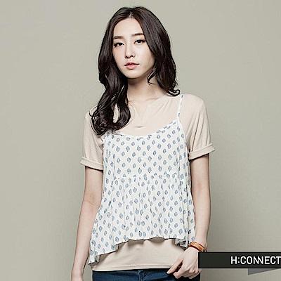 H:CONNECT 韓國品牌  女裝 - 可愛圖樣細肩背心-白(快)