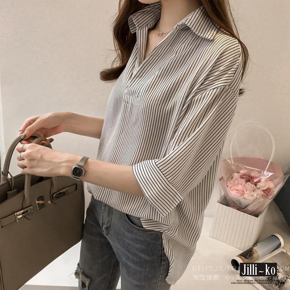 Jilli-ko 韓版直條紋寬鬆襯衫- 白/深藍