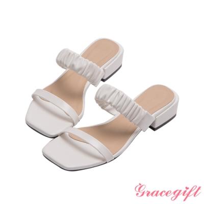 Grace gift-雙帶方頭低跟涼拖鞋 白