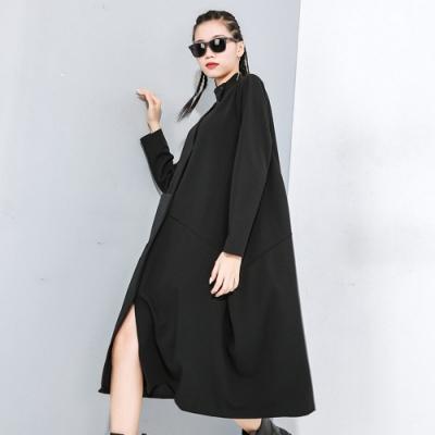 韓版立領不規則拼接口袋寬鬆連衣裙-F-CLORI