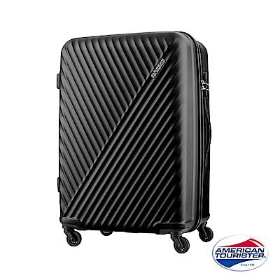 AT美國旅行者 24吋Visby線條防刮硬殼行李箱(黑)