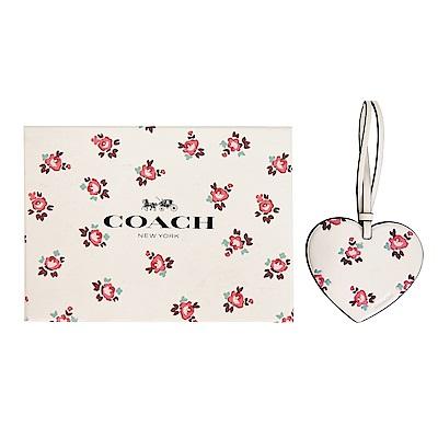 COACH 碎花蝴蝶結皮革吊飾/鑰匙圈(禮盒組)(白)COACH