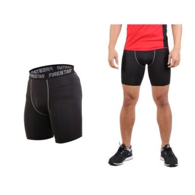 FIRESTAR 男機能緊身短褲-慢跑 路跑 運動短褲 黑灰