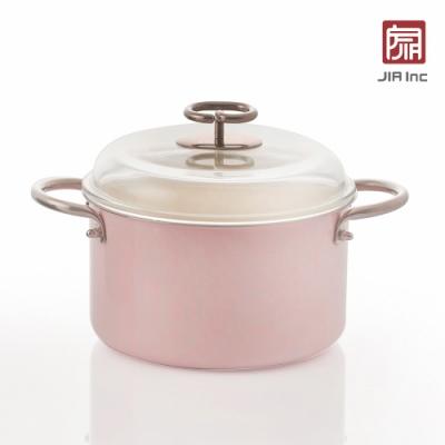 JIA Inc. 品家家品 虹彩鋼 琺瑯雙耳鍋20cm-粉色