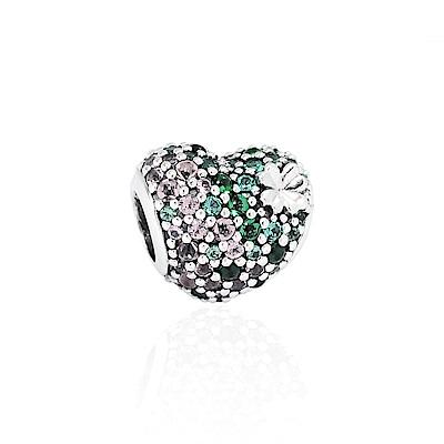 Pandora 潘朵拉 魅力鑲鋯心形三葉草 純銀墜飾 串珠