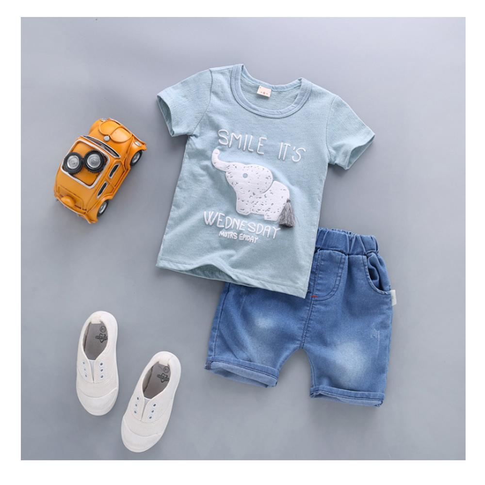 【韓品童裝】男童 中小童藍色大象休閒套裝