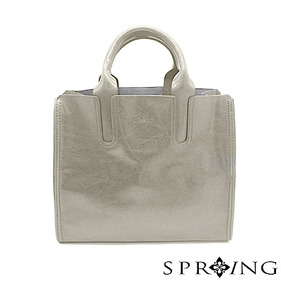 SPRING-朴秘書的柔軟真皮方包-舒適淺灰