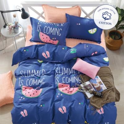 3-HO-100%純棉-雙人床包/枕套組-涼感夏日