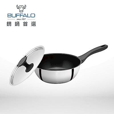 Buffalo牛頭牌 雅登不銹鋼不沾平鍋24cm/3.0L(含鍋蓋)(快)