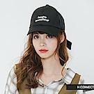 H:CONNECT 韓國品牌- 後綁結繡字棒球帽-黑