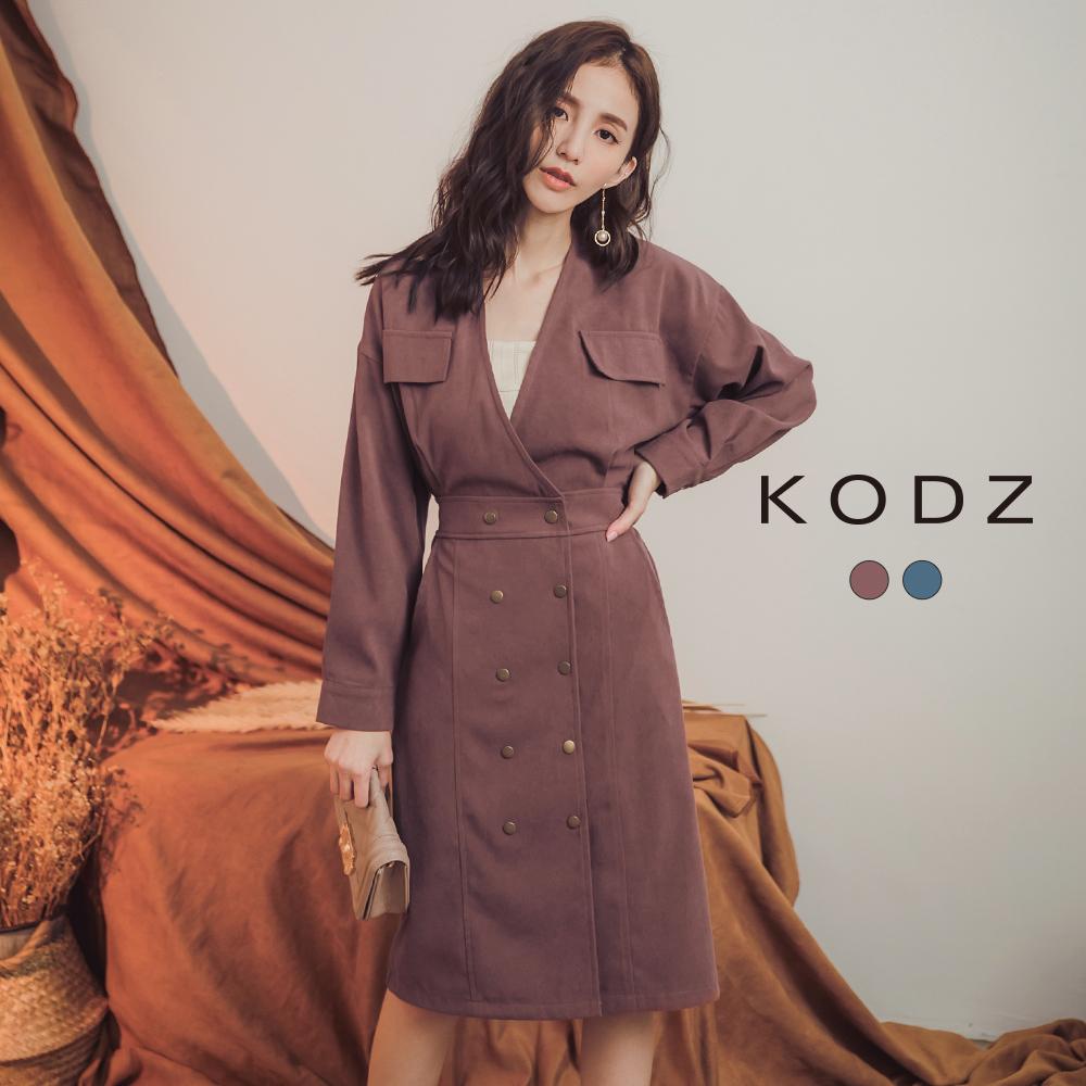 東京著衣-KODZ 質感OL挺版V領排釦修身長袖洋裝-S.M.L(共二色)