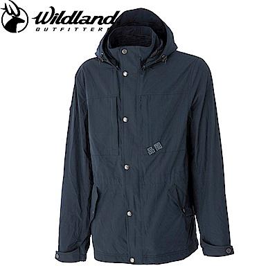 【Wildland 荒野】男Pile裡防風保暖時尚外套灰藍