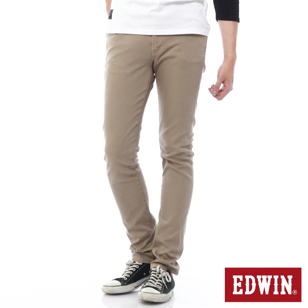 EDWIN EDGE 乾爽COOL 窄直筒色褲-男-卡其