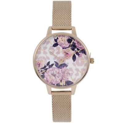 Olivia Burton 英倫復古手錶 野生花卉 玫瑰金米蘭錶帶錶框34mm