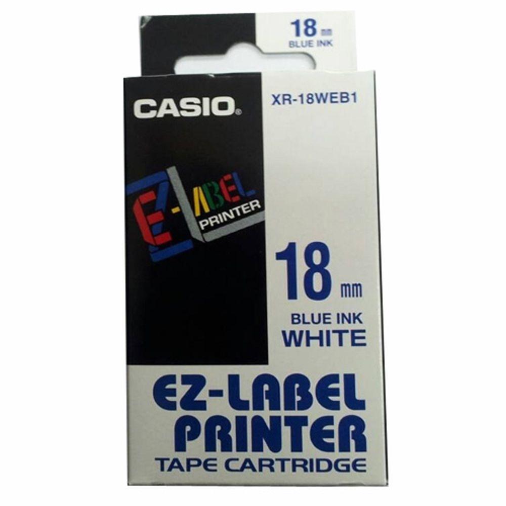 CASIO 標籤機專用色帶-18mm【共有9色】白底藍字XR-18WEB1