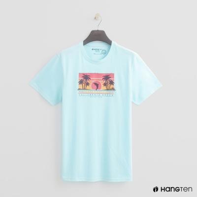 Hang Ten - 有機棉-純色夏日夕陽造型T- 藍