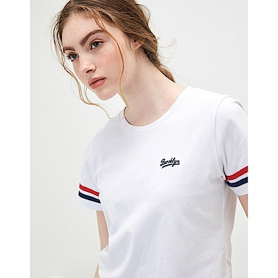CACO-袖織帶配色短T-情侶款-(兩色)-女【TAR001】