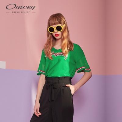 OUWEY歐薇 正面標語貼布繡針織上衣(綠)