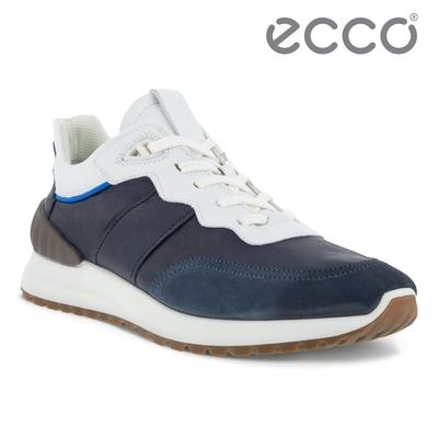 ECCO ASTIR 雅躍拼接皮革運動休閒鞋 男鞋 深藍色/午夜藍/亮白色/天堂藍