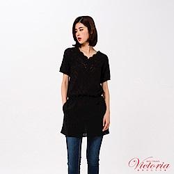 Victoria 全刺繡蕾絲長版短袖T-女-黑色