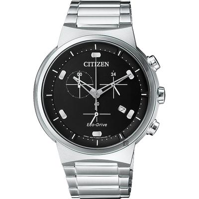 CITIZEN 星辰 Eco-Drive 光動能小秒針計時手錶-黑x銀/41mm AT2400-81E