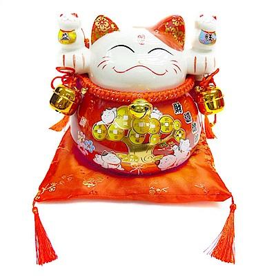 摩達客 春節大招財貓撲滿/擺飾桌飾-紅財源滾滾款(含坐墊)