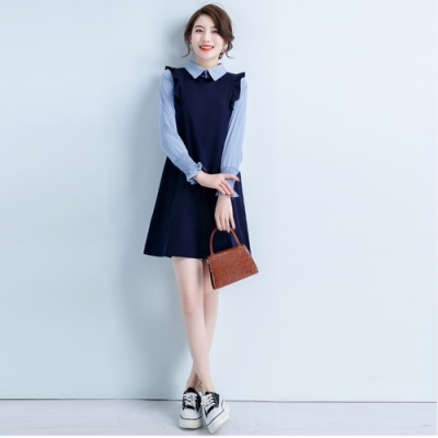 2F韓衣-韓系中大尺碼抽褶袖設計OL氣質洋裝-新(L-3XL)