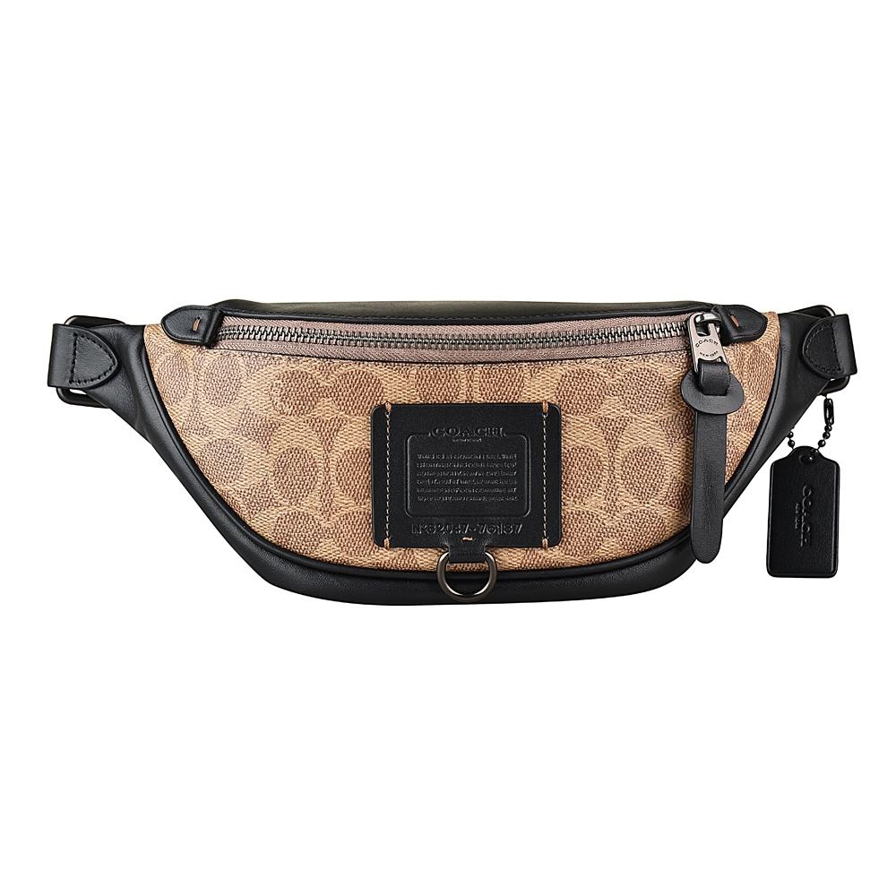 COACH專櫃款 RIVINGTON 7系列SIGNATURE塗層PVC皮革鑲飾帆布印花腰包(卡其)