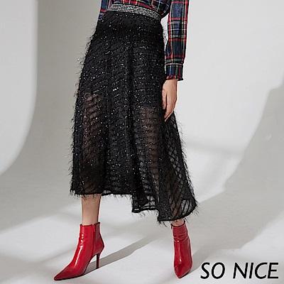 SO NICE優雅緞子紗質感長裙