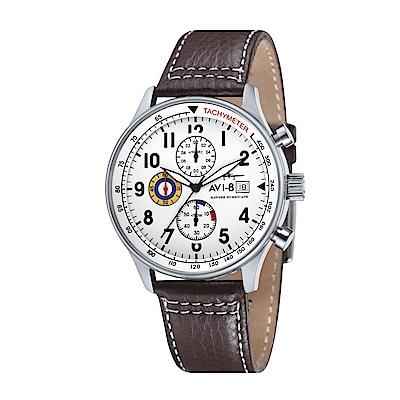 AVI-8 飛行錶 HAWKER HURRICANE 潮流手錶-白x咖啡/42mm