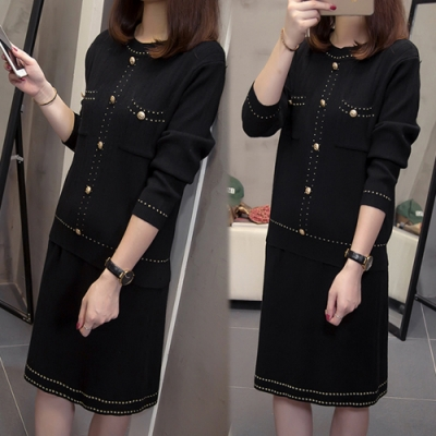 【韓國K.W.】(預購)英倫時尚名媛包臀套裝裙-2色