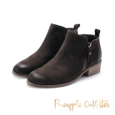 Pineapple Outfitter-BRENTA時尚簡約麂皮拉鍊短靴-絨綠色