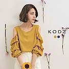 東京著衣-KODZ 優雅挖肩蛋糕澎袖設計上衣-S.M(共二色)