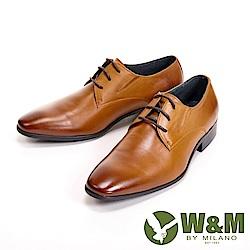 W&M 真皮刷色素面繫帶德比鞋 男鞋 -  棕