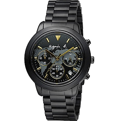 agnes b. 經典世界地圖時尚腕錶-黑x金-40mm