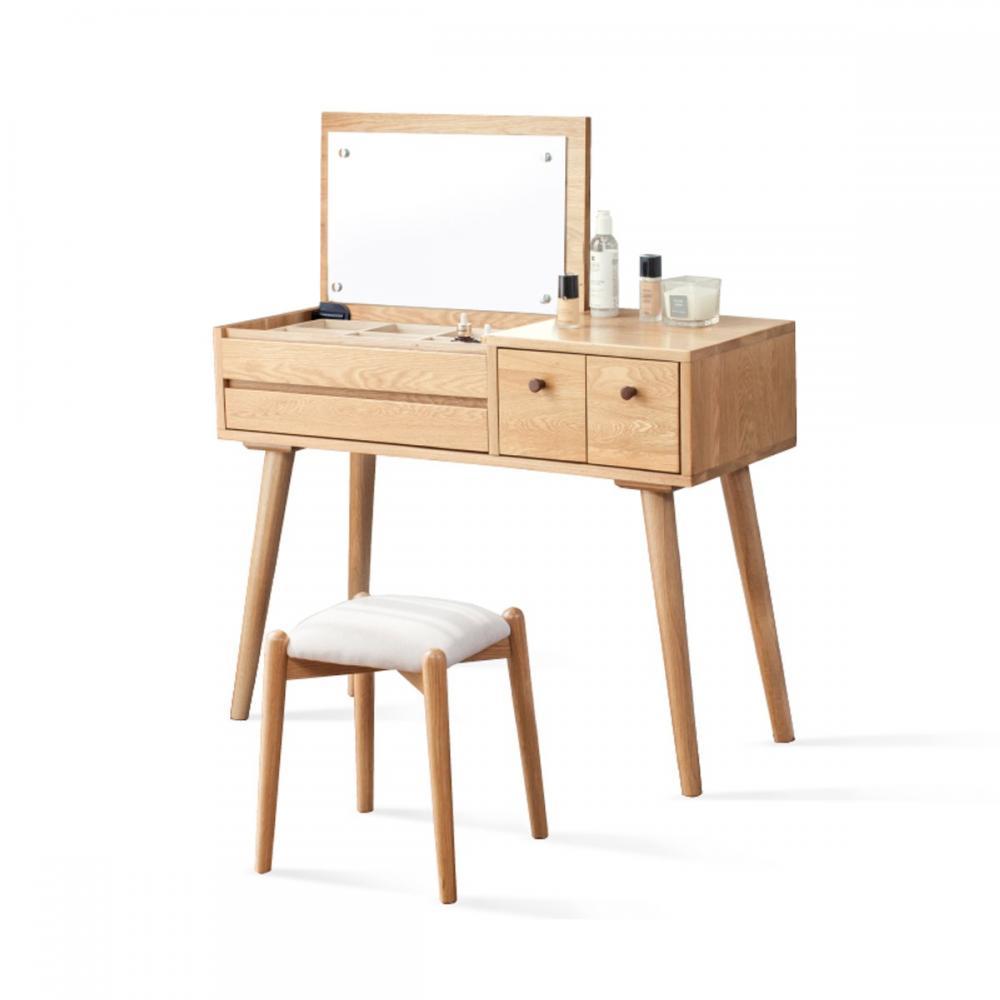 hoi! 源氏木語柏林橡木簡約多功能收納化妝桌 1M (附灰咖椅凳) Y8320 (H014254762)