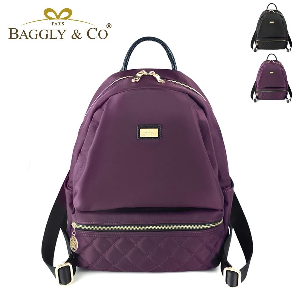 【BAGGLY&CO】質感菱格紋真皮尼龍防盜後背包(二色)
