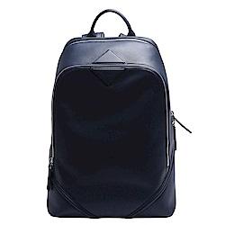 MCM DUKE NAPPA系列牛皮拉鍊後背包(中-深藍)