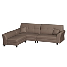 綠活居 雷凱時尚咖耐磨皮革L型沙發組合(四人座+椅凳)-276x200x94cm免組