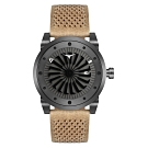ZINVO 突破傳統渦輪機械皮革腕錶-卡其色(BENCR)/44mm