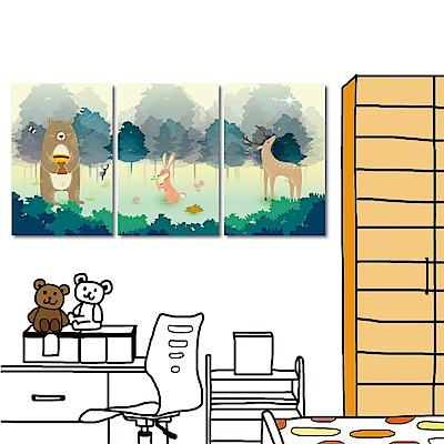 美學365 三聯北歐動物掛畫-動物森林40x60cm