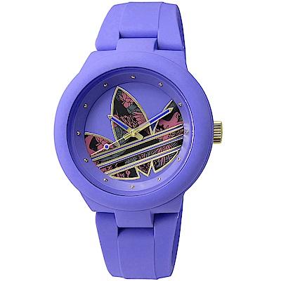 adidas Aberdeen 花花世界質感矽膠腕錶-花樣圖騰x紫 /40mm
