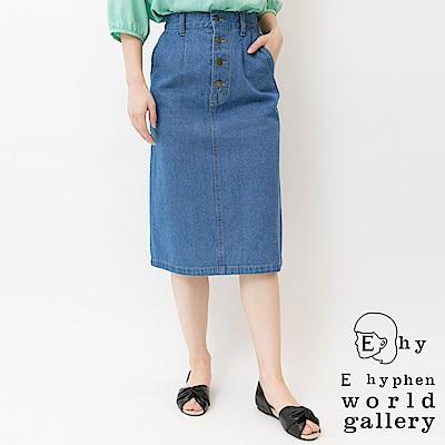 E hyphen 前排釦牛仔中長窄裙
