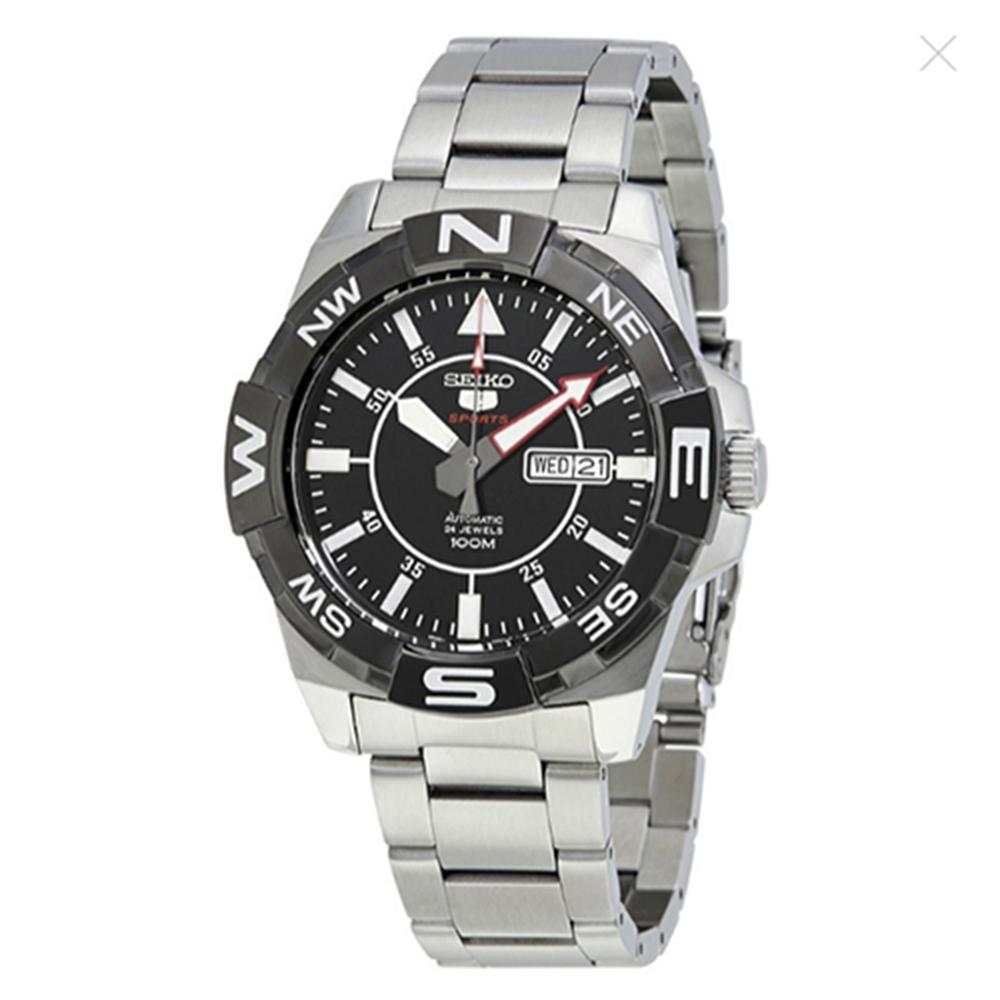 SEIKO 5號夜光自動黑色錶盤不鏽鋼男士手錶 (SRPA65J1)-黑x45mm