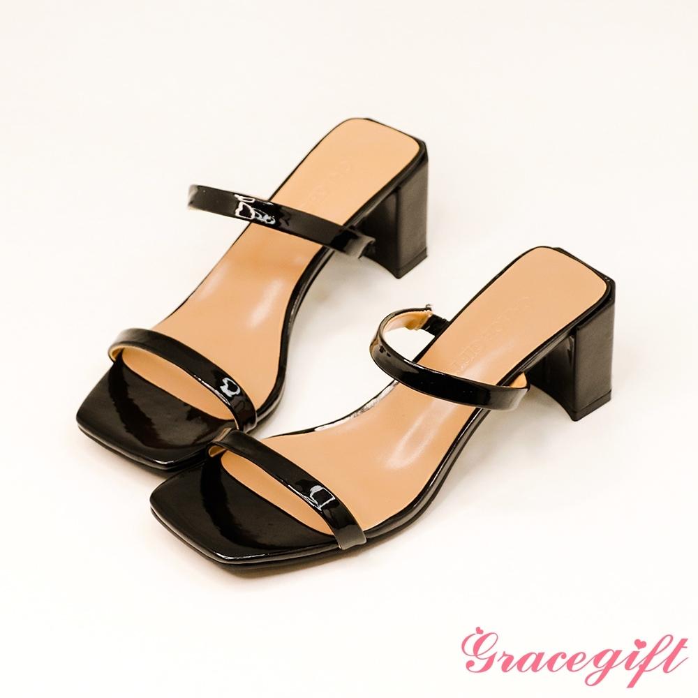 Grace gift-一字雙細帶高跟涼拖鞋 黑壓紋