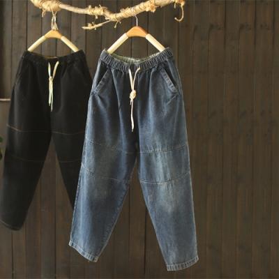 素色拼接抽繩鬆緊腰牛仔褲寬鬆長褲-設計所在