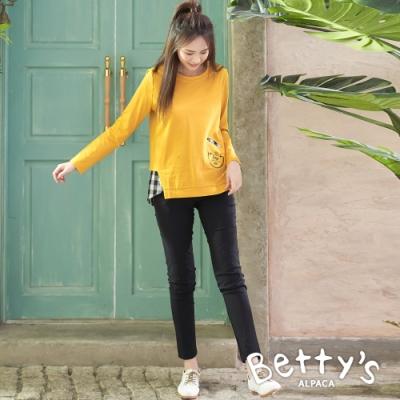 betty's貝蒂思 內刷毛純色彈性長褲(黑色)