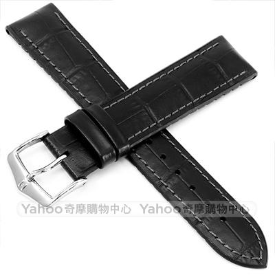 海奕施 HIRSCH Paul L  300 米防水 小牛皮橡膠錶帶-黑